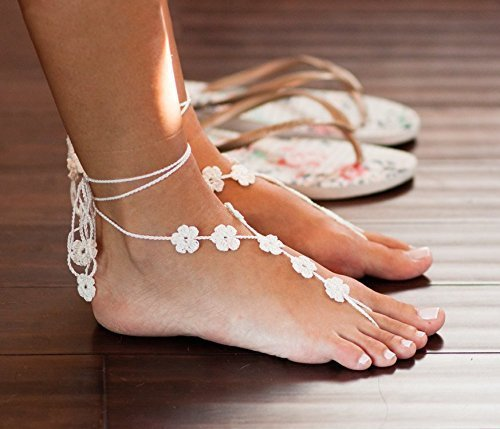 Flower Barefoot Sandals in Ivory, Beach Wedding Foot Jewelry, Beach Wedding Shoes