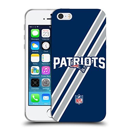 Ufficiale NFL Strisce New England Patriots Logo Cover Morbida In Gel Per Apple iPhone 5 / 5s / SE