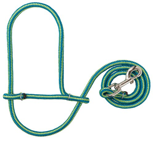 Weaver Leather Poly Rope Sheep Halter with Snap, Blue/Lime каталог weaver