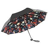IKASA 日傘 晴雨兼用 完全遮光 UVカット( UVカット率 約99%/UPF50+ ブラック) K001
