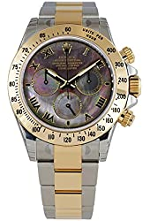 Rolex Daytona Steel Yellow Gold Watch Dark Mother of Pearl Dial 116523