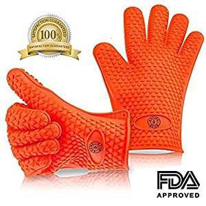 KHOMO GEAR - Pair of Heat Resistant Oven Gloves - For BBQ Grill / Ovens / Kitchen - One Size Fits Most - Orange