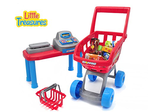 Little Treasures Mini Toddler Size Supermarket PlaySet – realistic pretend play of grocery shopping spree for kids