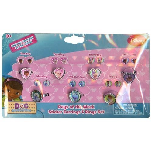 Doc McStuffins Days of the Week Earring and Ring Set