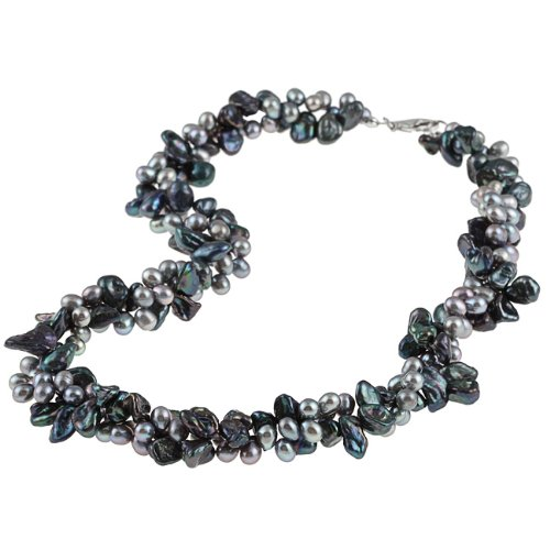 DaVonna Freshwater Grey and Blue Pearl Twisted Necklace (7-8 mm)