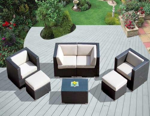 ohana collection PN0708 Genuine Ohana Outdoor Patio Wicker Furniture 7-Piece All Weather Gorgeous Couch Set with Free Patio Cover image