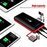 EC Technology Portable Charger 22400mAh External Battery Pack with 3 USB Outputs - Black and Red