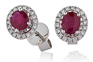 0.90CT Certified G/VS2 Ruby Centre with Oval Shape Halo Earrings in 18K White Gold