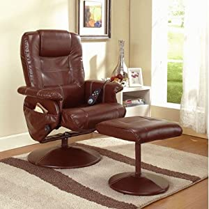Reclining Massage Chair with Ottoman Color: Dark Brown