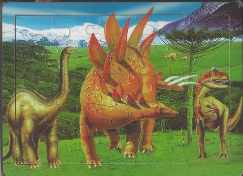 25 Piece Wood Dinosaur Puzzle (Stegasaurus and T-Rex) - 1