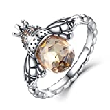 BAMOER Sterling Silver Queen Bee with Clear Cubic Zircon Stacking Band Ring,Size 7