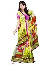 Vamika Georgette Printed Saree (Multi Colour) - B00L309OTE