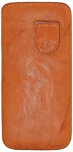 Original Suncase Echt Lederhülle für Apple iPhone 5 / 5S (Tasche mit Rückzugfunktion) in wash-orange
