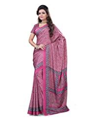 Surat Tex Dark Pink Crepe Daily Wear Printed Sarees With Blouse Piece-E586SE1004ASP
