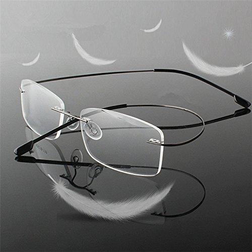 Men Women Eyeglass Frame Rimless Reading Glasses Business Glasses Temple-flexible Optical Frame Spectacles Portable Crystal Lenses Clear Vision Eye Glasses Compact Magnifier Eyewear Silver +3.50