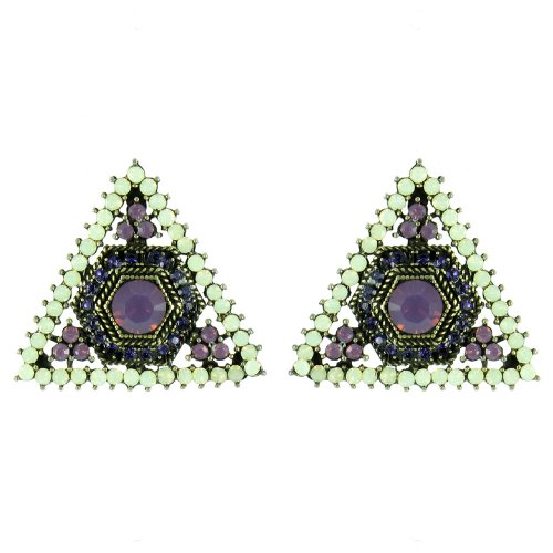 Purple And White On Antique Gold Sparkly Geometric Triangle Earrings front-632437