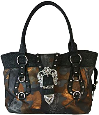Yesir Handbags Camo Satchel Western Style Purse Bling Buckle Handbag (Black)