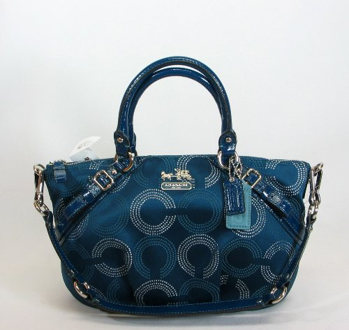 Coach Dotted Op Art Sophia Convertiable Tote Bag Purse 15935 Teal