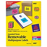 Avery Removable Multipurpose Labels, Assorted Neon, 3.33 x 4 Inches, Pack of 72  (6482)