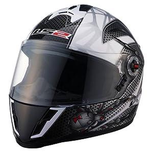 LS2 Helmets FF392 Junior Full Face Motorcycle Helmet with Spyder Graphic (White/Black/Gray, Medium)