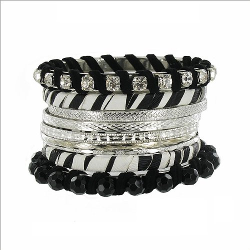 Stackable Zebra Print & Crystal Bracelet #034792