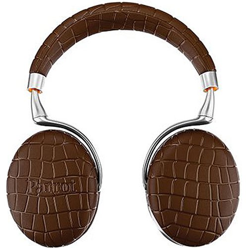 Parrot Zik 3 Wireless Noise Cancelling Touch Control Bluetooth Headphones (Brown Croc) with Parrot Interchangable Battery for Zik 2 and Zik 3