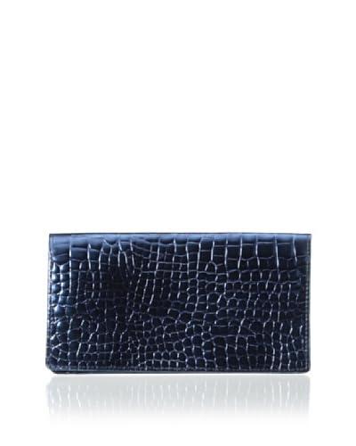 AEON Women's Checkbook Cover, Blue Metallic Croc