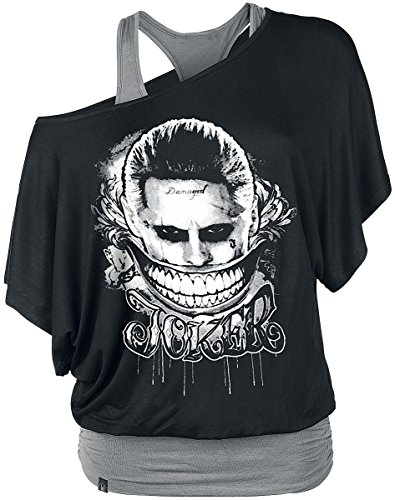 Suicide Squad The Joker - Smile Manica lunga donna nero/grigio L
