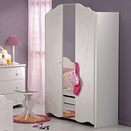 Kleiderschrank weiß lackiert, 116x188x52cm, 2-türig Spiegel Drehtüren Kinderzimmer, Anne 13 online bestellen