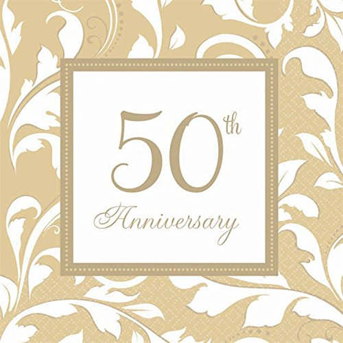 50th Anniversary Elegant Golden Scroll Beverage Napkins 16/pkg