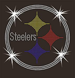 Steelers Football Angel Wings Rhinestone Bling Womens Tee Shirt Hoodie (Small)