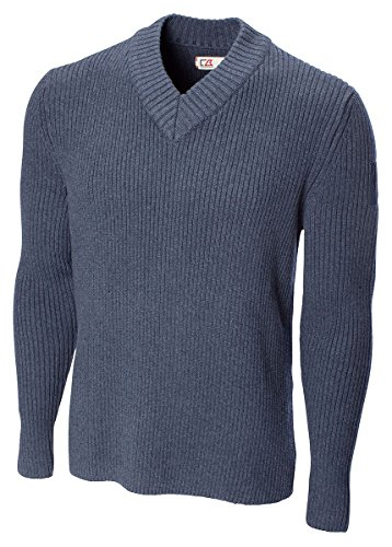 Cutter & Buck Bds00017 Mens Blanchard Rib V-Neck, Nightfall-Xlt