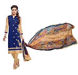 Mandani Fashion women's Chanderi Party Wear Unstitched dress material(SF328_Navy Blue color)