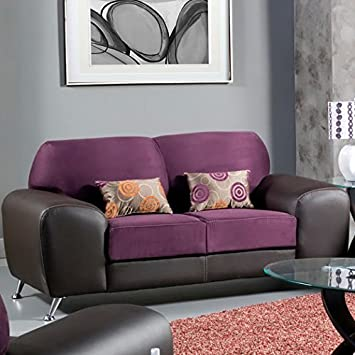 Sona Leatherette Loveseat by Hokku Designs - Grape /Espresso