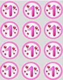 12 1st Birthday Girls Pink Balloons rice paper fairy cup cake 40mm toppers pre cut decoration