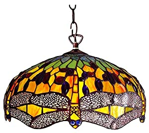 Chloe Lighting CH1049DG18-DH2 Tiffany-Style Dragonfly 2 Light Ceiling Pendant Fixture 18-Inch Shade