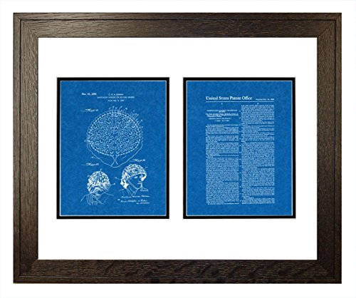 "Camouflaging Covering For Military Helmets Patent Art Blueprint Print in a Rustic Oak Wood Frame (20"" x 24"")"