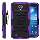Samsung Galaxy Mega 6.3, GT-I9200 I9205 i527 (AT&T, Sprint, MetroPCS, U.S. Cellular) Case, Hybrid Dual Layer Armor Phone Case Cover with Kickstand, Holster Belt Clip (HYBRID HOLSTER PURPLE)