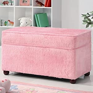 Kids Storage Bench In Fuzzy Pink Fabric Patio