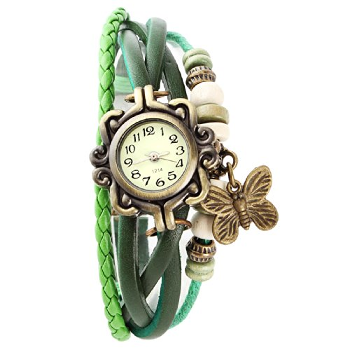 Yesurprise New Retro Weave Around Leather Bracelet Watch Fashion Lady Woman Quartz Butterfly Wrist Watch Gift #3