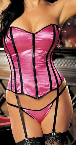 Shirley of Hollywood Women's Satin Corset With Zipper,Hot Pink,36