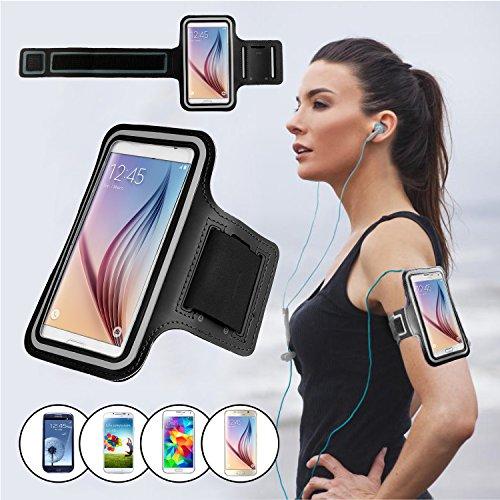 SAVFY® Noir Brassard Armband Sport pour Samsung Galaxy S7 / S6/ S6 Edge pour le Jogging / Gym / Sport - confortable avec sangle réglable