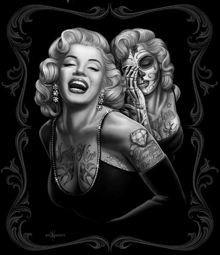 Marilyn Monroe Tattoos Black Super Soft Fleece Throw Blanket 50X60 front-19333