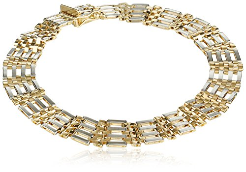 Mens-14k-Gold-Two-Tone-94mm-Bracelet-825
