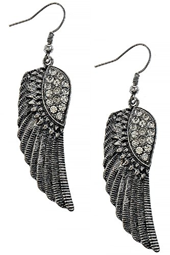 Heavenly Crystal Accent Angel Wing 316L Surgical Steel Freedom Fashion Earrings (Antique Silver)