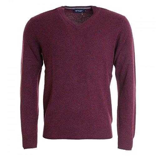Hackett Clothing Lambswool V Neck, Felpa Uomo, Red (Berry), Medium