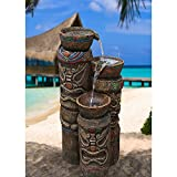 Tiki Fountain Outdoor Decoration for Your Backyard Lawn Garden Beach Party