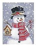 Snowman with Birdhouse Winter Garden Flag