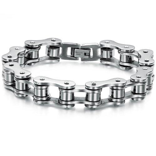JewelryWe Gioielli bracciale da uomo donna acciaio inossidabile catena collega bracciale