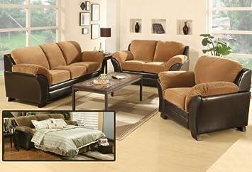 3pc Transitional Modern Fabric Sofa Bed - AC-MIA-S1